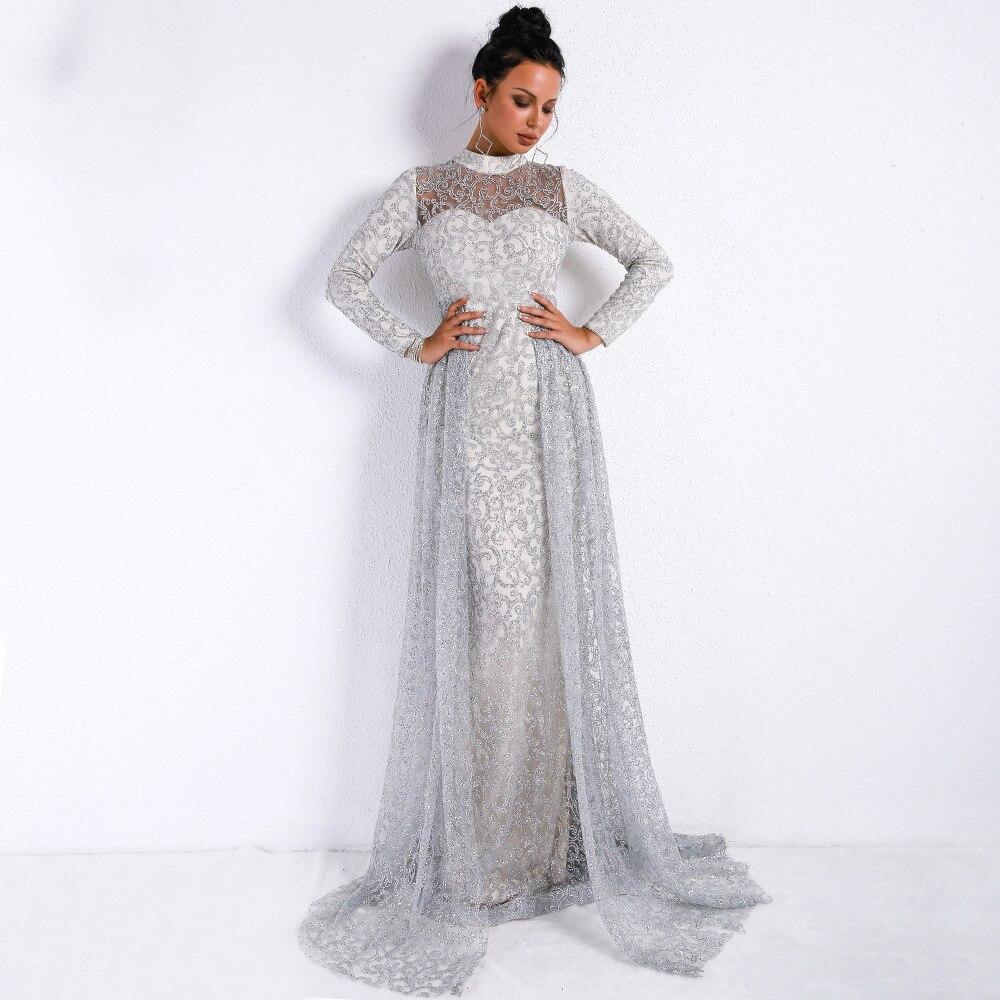 Qualité supérieure Col Roulé-Parole Longueur Robe De Mode À Manches Longues Célébrité Soirée Femmes Élégantes Sexy Robes