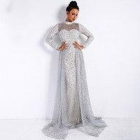 Top Quality Turtleneck Floor Length Dress Long Sleeve Fashion Celebrity Evening Party Elegant Women Sexy Dresses