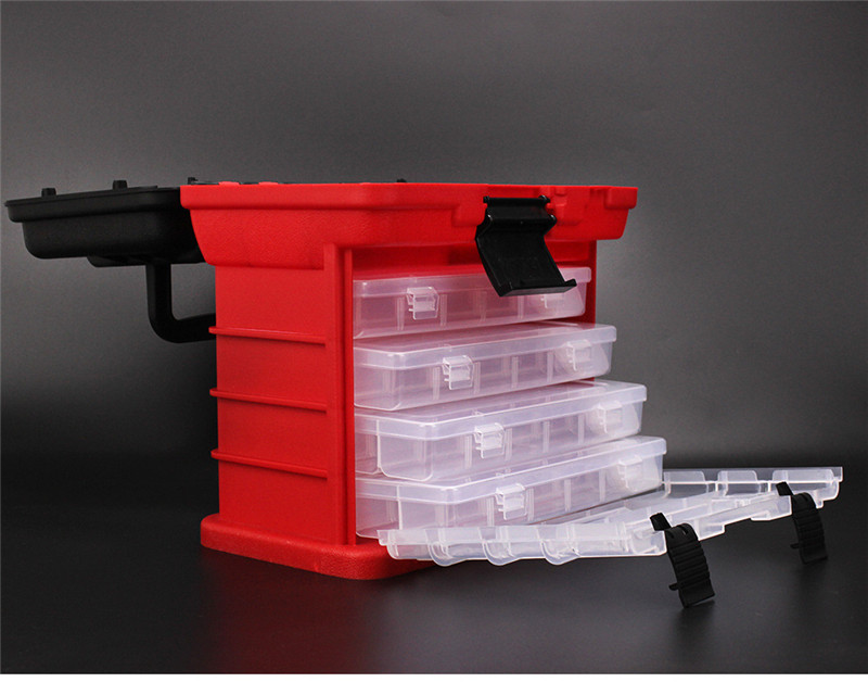 New 4 Layers Fishing Tackle Box Strong ABS Plastic Fishing Tools Container Big Fishing Accessories Box 27x17x26cm 4 Colors (21)