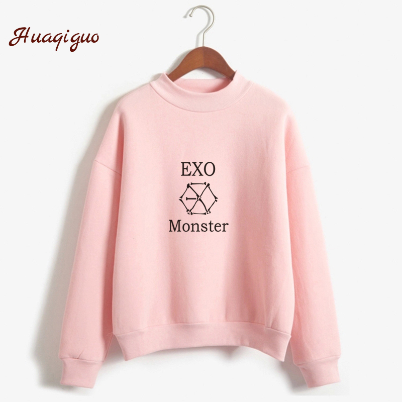 Kpop Exo Sweatshirt Women Autumn Winter Harajuku Casual Hoodies Letters Printed Bts Fleece Pullover K-pop Clothes Drop Shipping