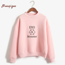 Kpop Exo Sweatshirt Women Autumn Winter Harajuku Casual Hoodies Letters Printed Bts Fleece Pullover K-pop Clothes Drop Shipping(China)