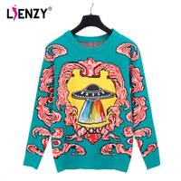 LIENZY Knitting UFO Red Clould Sweater Winter Women S Clothing Long Sleeve O Neck Tunic Tops