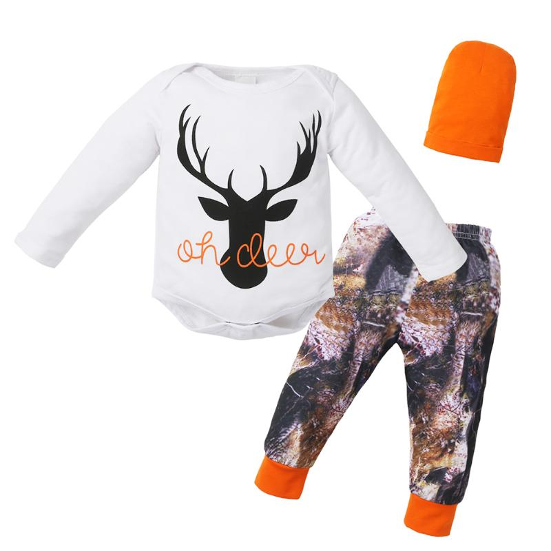 3pcs/set Baby Clothing Set Newborn Boy Girl Deer Print Long Sleeve Bodysuit+Printing Pan ...
