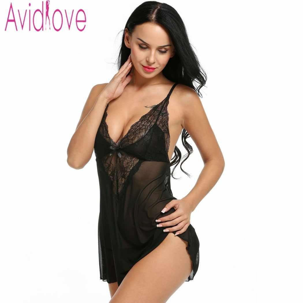 45cc823192d Avidlove Women Sexy Lingerie Hot Erotic Nightwear Sexy Lingerie Babydoll  Dress Lace Sleep Nightdress Black Purple White