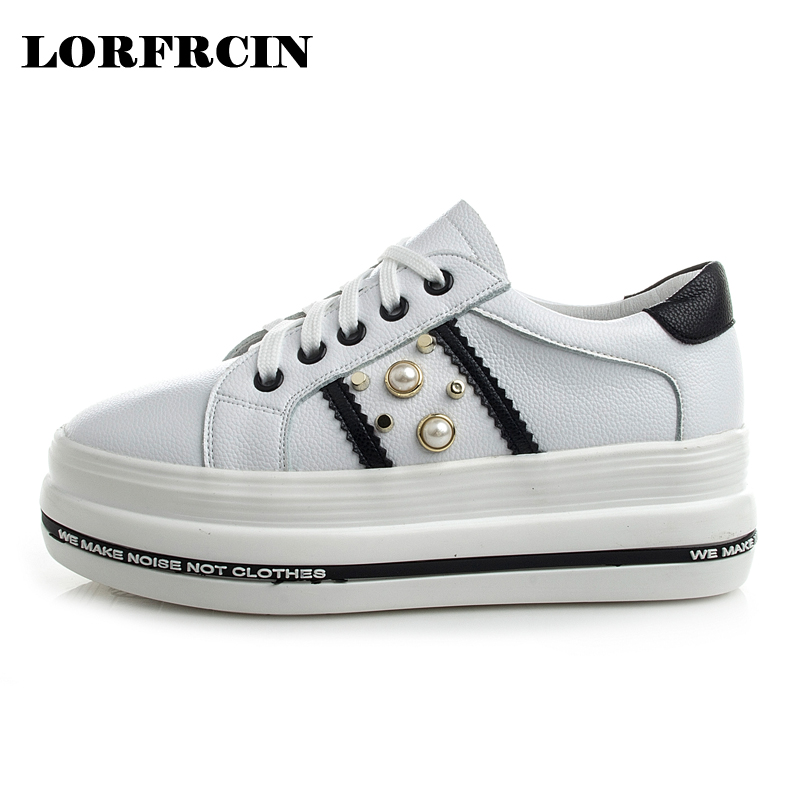 LORFRCIN Women Platform Shoes Genuine Leather Casual White Pearl Flat Shoes Woman Creepers Spring Autumn Thick Bottom Flats 2018 phyanic 2017 gladiator sandals gold silver shoes woman summer platform wedges glitters creepers casual women shoes phy3323