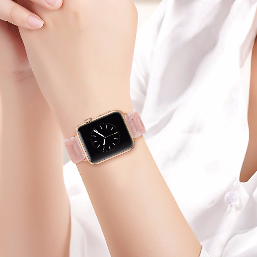 Trumirr Immitation Ceramic Watchband for iWatch Apple Watch 38mm 40mm 42mm 44mm Series 1 2 3 4 5 Resin Band Wrist Strap Bracelet