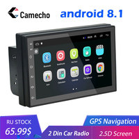 Camecho Android 8.1 2 Din Car radio Multimedia Video Player Universal auto Stereo GPS MAP For Volkswagen Nissan Toyota Hyundai