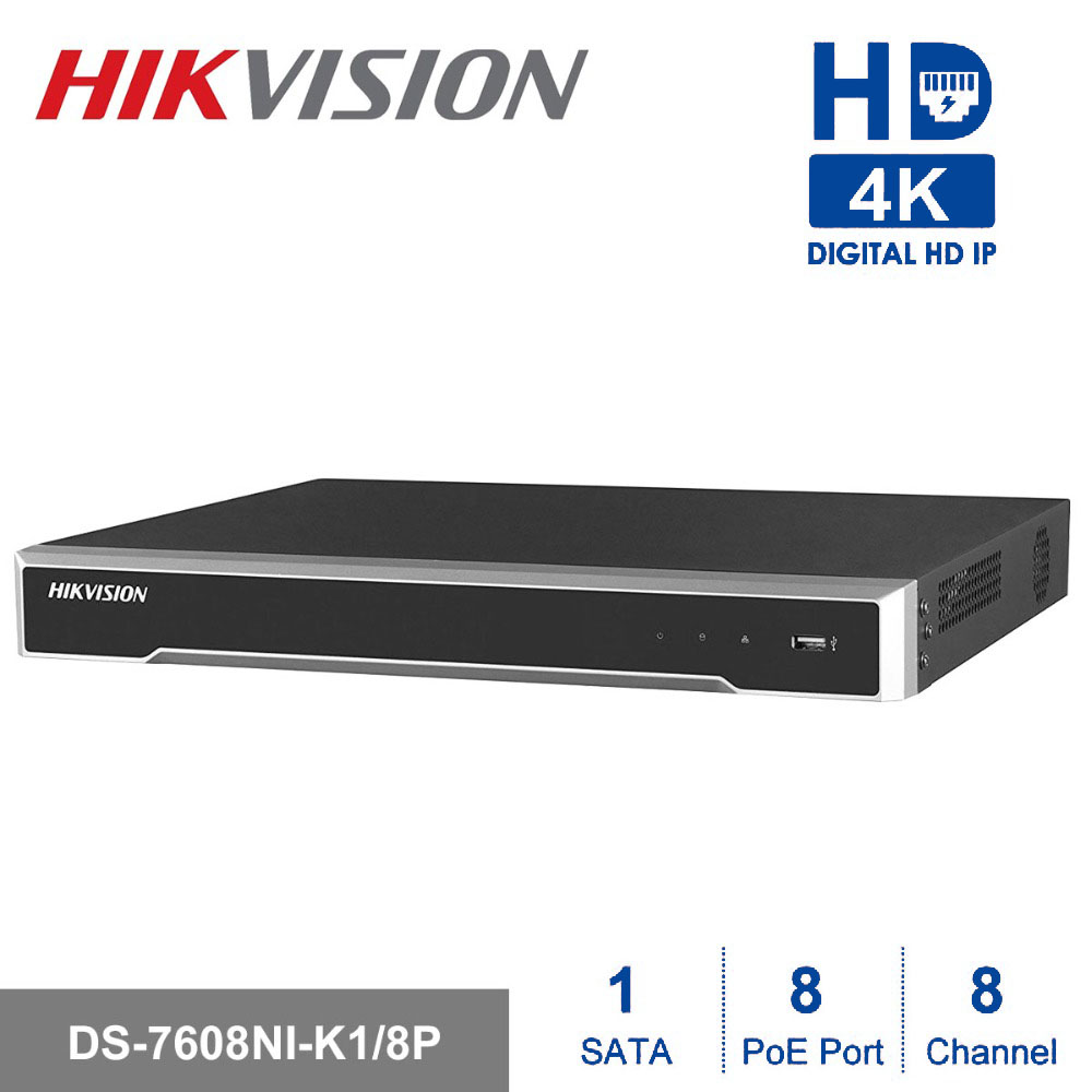 Hikvision 8ch CCTV Recorder PoE NVR DS 7608NI K1/8P 8 Channel Embedded Plug&Play 4K Network Video Recorder with 8 PoE Port H.265