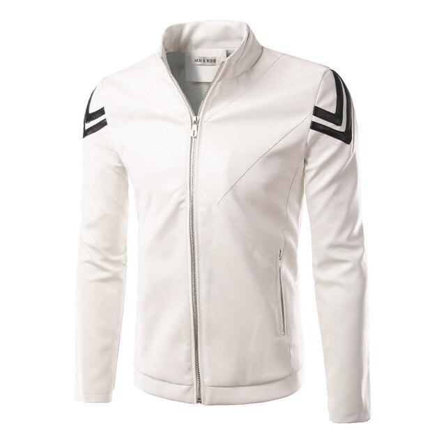 New White PU Leather Jacket Men Veste Cuir Homme 2016 Autumn Mens Fashion Slim Fit Zipper Motorcycle Jacket Casual Jackets