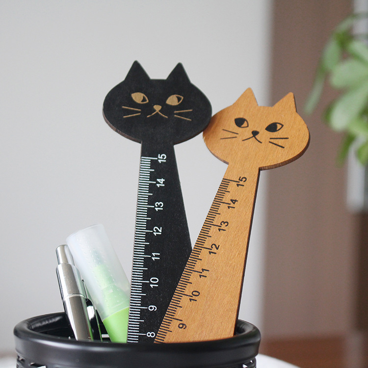 2 X Korea Kawaii Cute Cat Kitty Face Stationery Wood Ruler Sewing Ruler Gift ^^