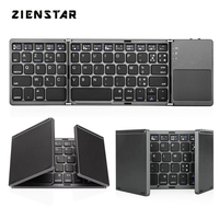 Zienstar AZERTY French Tri Folding Wireless Bluetooth Keyboard with Ttouchpad for ipad/Iphone/Macbook/PC computer/Android tablet