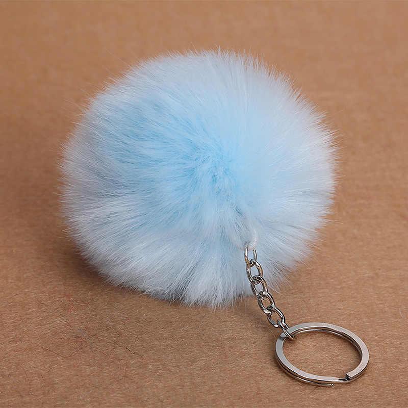 8 centímetros Faux Fur Bola Chaveiro Pompom Fofo Lindo Chaveiro Chaveiro Bonito Pom Pom Porte Clef Para As Mulheres Saco charme Brinquedos 6C0091