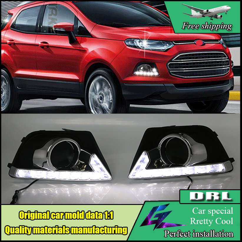Car styling LED Daytime Running Light For Ford Ecosport 2013 2014 2015 Car Accessories Waterproof 12V DRL Fog Lamp Decoration car front bumper mesh grille around trim racing grills 2013 2016 for ford ecosport quality stainless steel