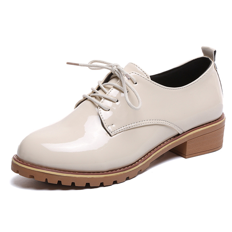 Lucyever 2018 Fashion Oxford Flat Shoes Women Patent Leather Retro Lace up Round Toe Britsh Style Casual Shoes Woman size 35-40 beffery 2018 british style patent leather flat shoes fashion thick bottom platform shoes for women lace up casual shoes a18a309