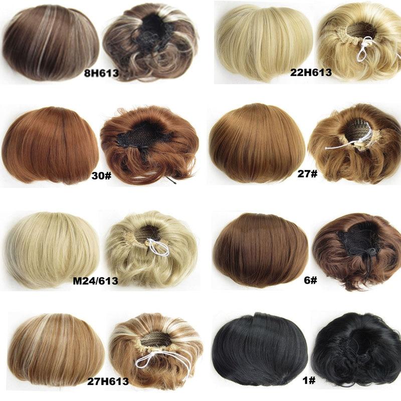 jeedou Syntetisk Hår Hög Temperatur Fiber Chignon Blond Brun Färg - Syntetiskt hår - Foto 2