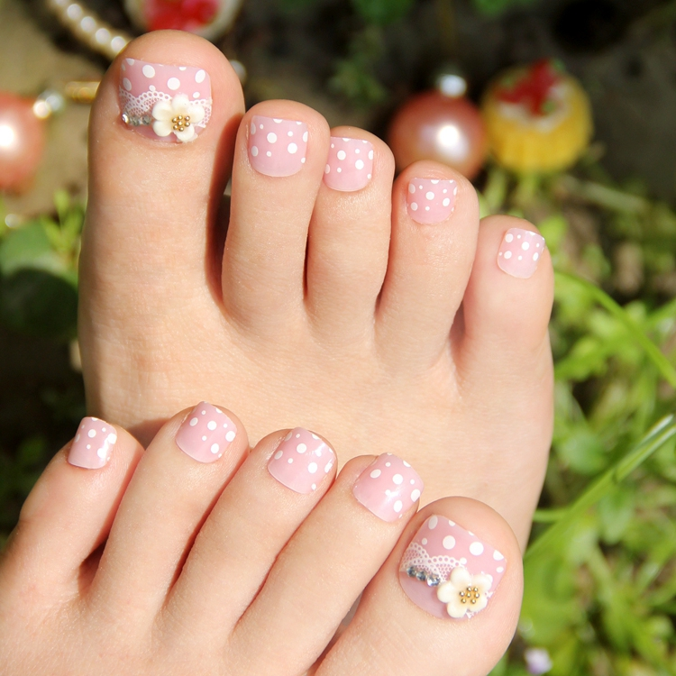New Arrivals 24pcs Finished False Nails Pink White Flower Toe Nails ...