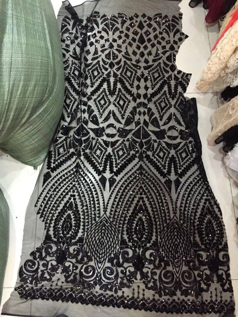 Unique paillette fabric/mesh sequins fabrics/french net lace fabric LJY102140 in black color