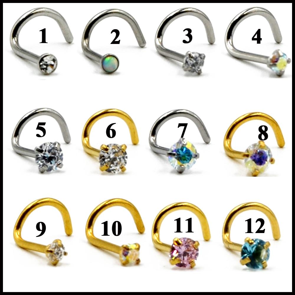 choose color 1pc Surgical Steel Nose Screw Ring w//Heart Prong Set Gem 18g,20g