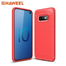 HAWEEL Phone Cover For Samsung Galaxy S10 Lite Brushed Texture Carbon Fiber TPU Pure Case Shell