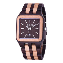 SKONE 2016 New Man Wooden Watch Luxury Gift Bangle Quartz Watch With Calendar Display Men  Masculino Watches