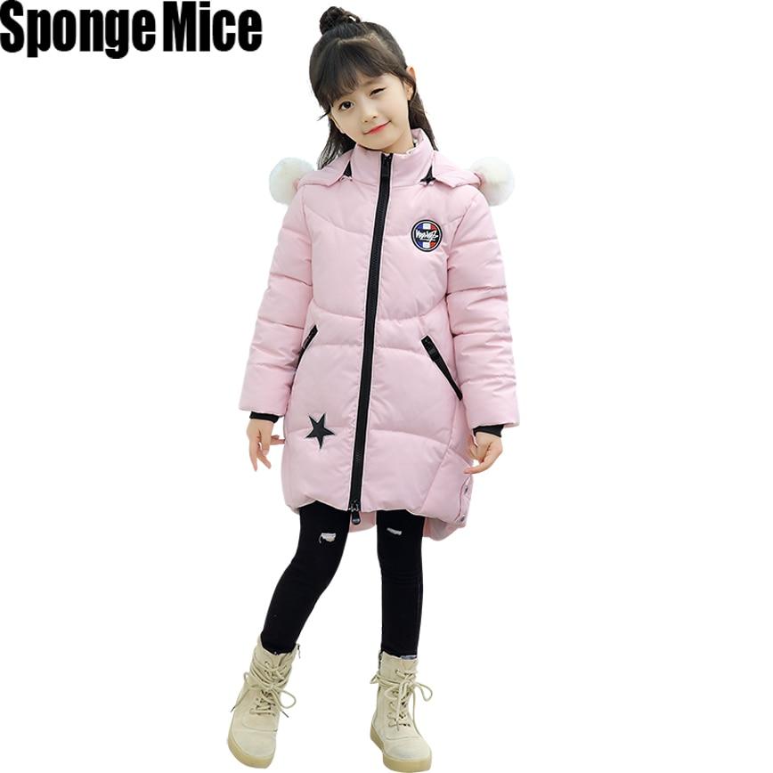 Children Winter Jackets For Girls Parkas Thicken Warm Girls Outerwear Cotton-padded Fur Hooded Coats -15 Degree Five star parkas