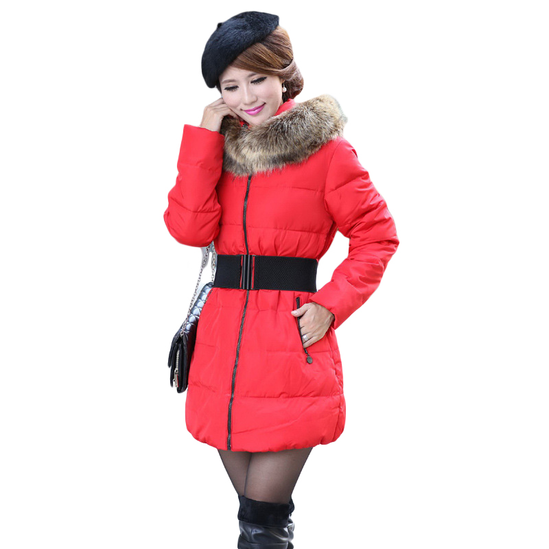 2016 Winter Coat new arrive hooded fur collar full sleeve plus size XXXXL pure color women Down long parkas with belt 4589