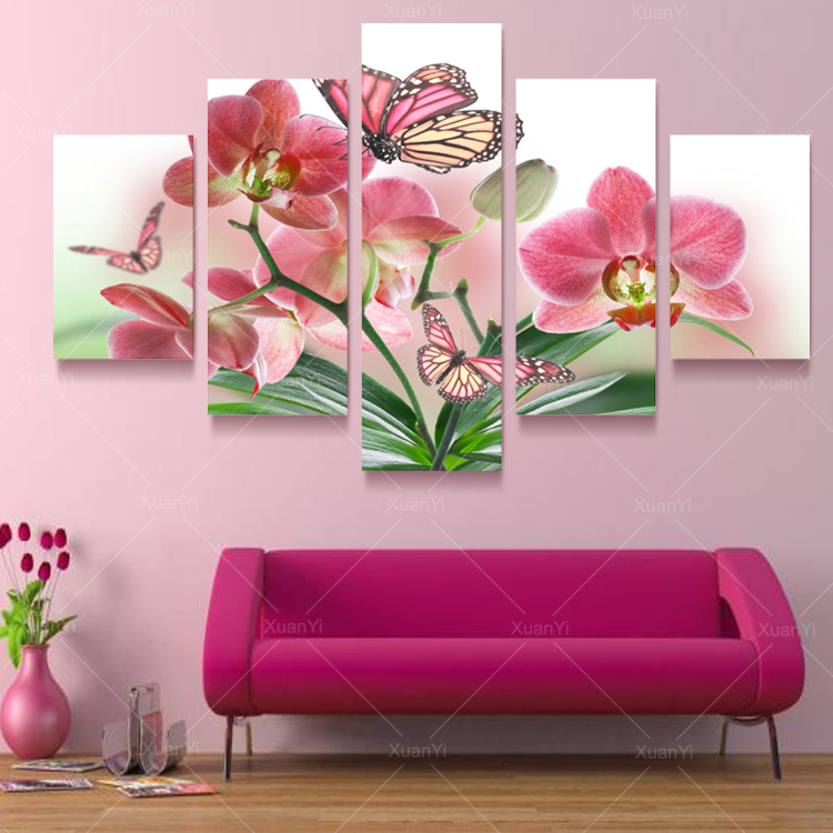 5 Panel Butterfly Flower Oil Canvas Art Painting Modern Printed Wall Pictures Cuadros For Living Room Bed Room Unframed PR950
