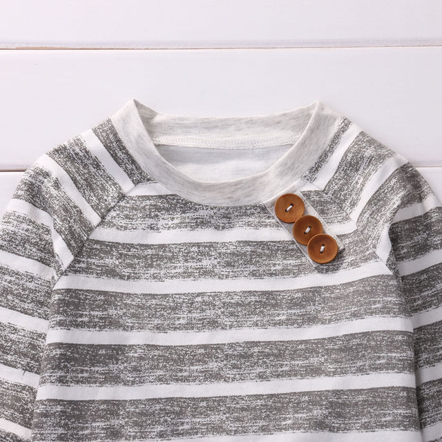 3-piece Baby Boy Grey Striped Sweatshirt with Joggers and Baby Cap Hat Set