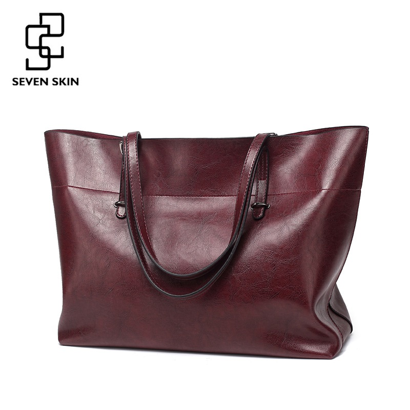 SEVEN SKIN Brand Women Shoulder Bags Fashion Designer Woman Bag High Quality PU Leather Handbag Female Solid Top-handle Tote Bag seven skin brand women shoulder bag female large tote bag ladies pu leather top handle bags luxury handbags women bags designer
