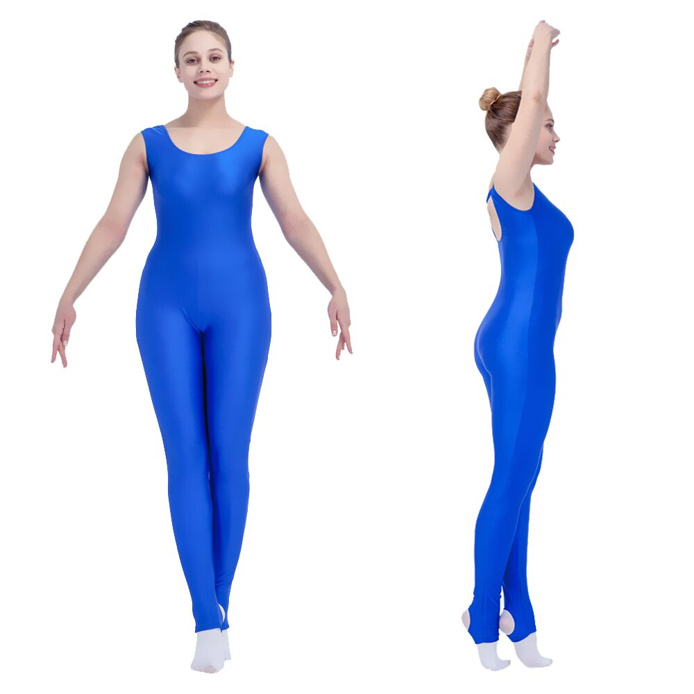Detaljhandel Engros sølv, svart Nylon / Lycra Ankellengde Tank Dance Gymnastics Unitards for Ladies and Girls