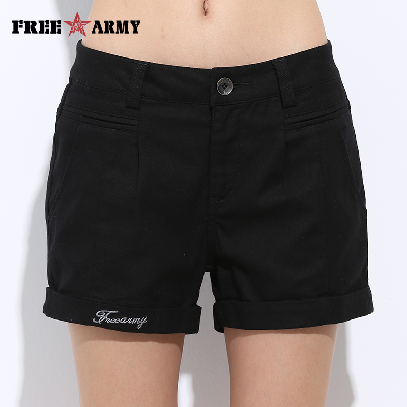 Womens Shorts Summer Fashion Casual 100% Cotton 4 Solid Colors Short Pants Brand Clothing Black Sexy Hot Woman Shorts Size 26-31
