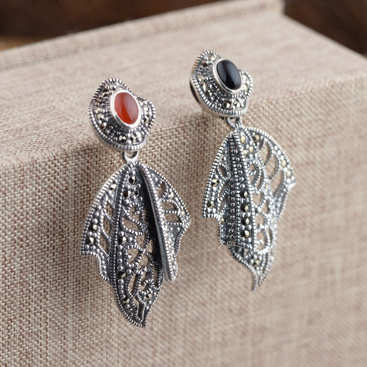 Earrings S925 Pure Silver Inlay Agate Thai Silver Antique Style Female With Delicate Do Manual Work Is The New Earrings thai silver earrings s925 zircon silver inlaid white female antique style earrings atmospheric water