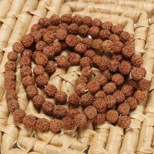 Natural Rudraksha Japa Mala 108 +1 Bead Hindu Prayer Meditation Buddhist for Meditation Practice Bracelet