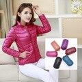 new women ultra light Candy colors down jacket winter duck down jackets slim thin long sleeve parka zipper coats pockets solid