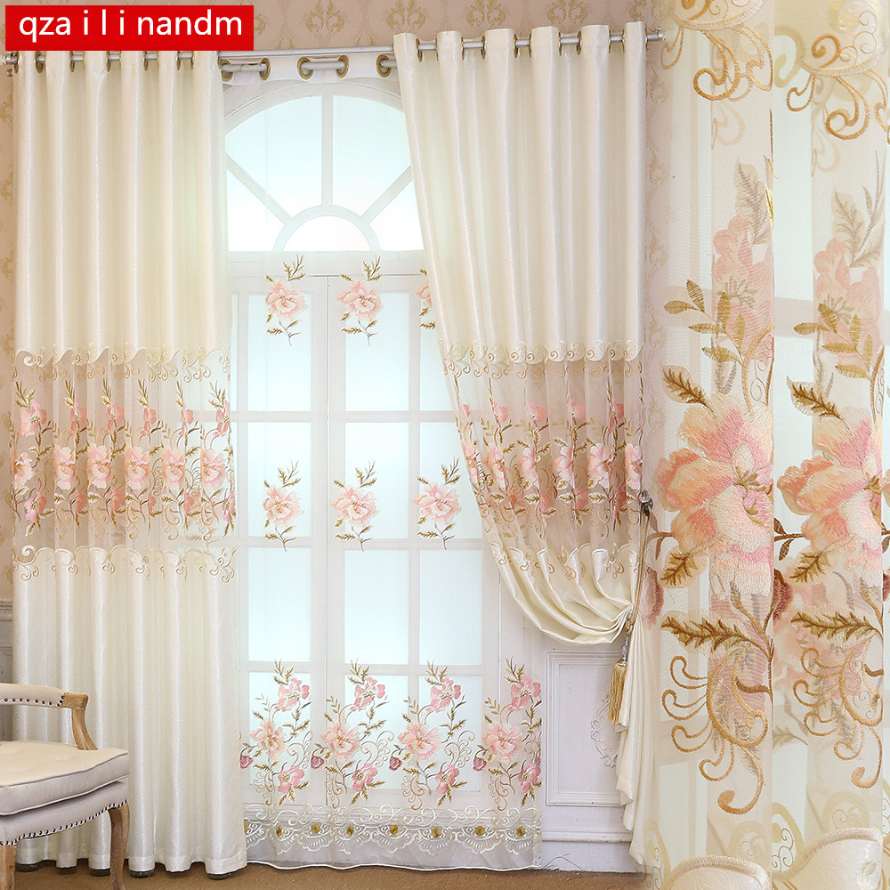 European embroidery 100% polyester curtains Bedroom Luxury royal aristocratic white blackout window Curtains for Living Room