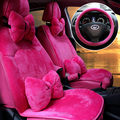 Sweety Style Soft Plush Car Seat Covers for Women Universal Winter Warm Seat Cushion 10pcs Sets - Black, Rose