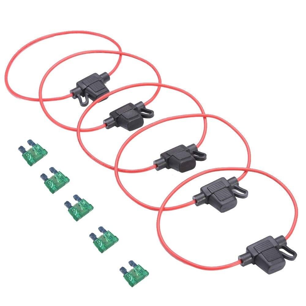 10 16 Gauge ATC Fuse Holders in-LINE AWG Wire Copper 12V Blade Waterproof EE