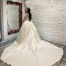 Кружевное бальное платье из Саудовской Аравии, атласные свадебные платья с длинным рукавом, женское платье со шлейфом, свадебное платье
