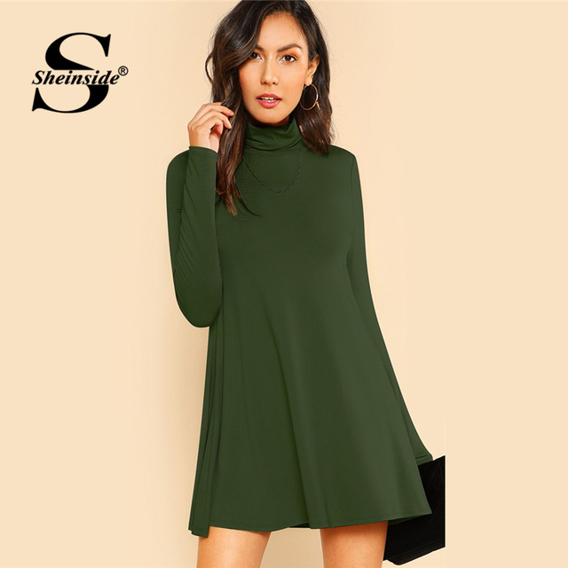 bade1263dec Sheinside Green High Neck Flowy Mini Dress Women Long Sleeve Fit and Flare  Dresses 2018 Clothes Ladies Casual Autumn Dress
