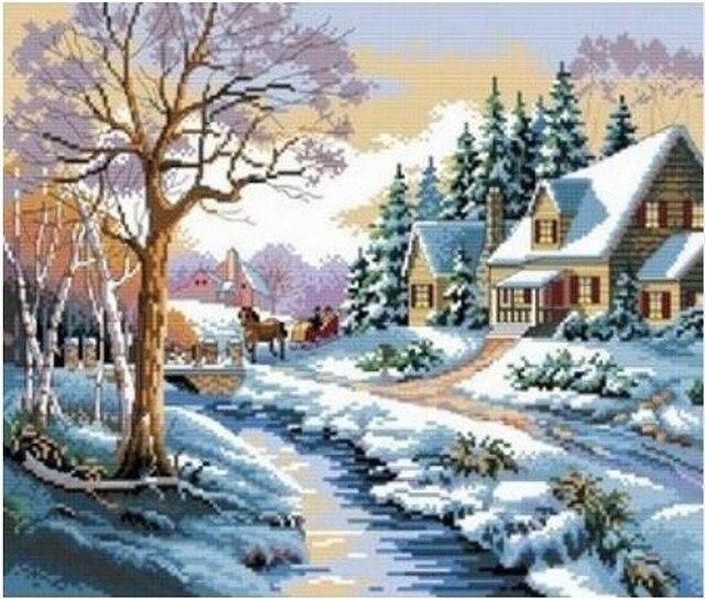 Diy mosaic square diamond painting landscape tree winter