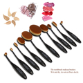 RUIMIO 10pcs Toothbrush Eyebrow Foundation Eyeliner Lip Oval Makeup Brush Set Professional Foundation Powder Brush Kit (Black)