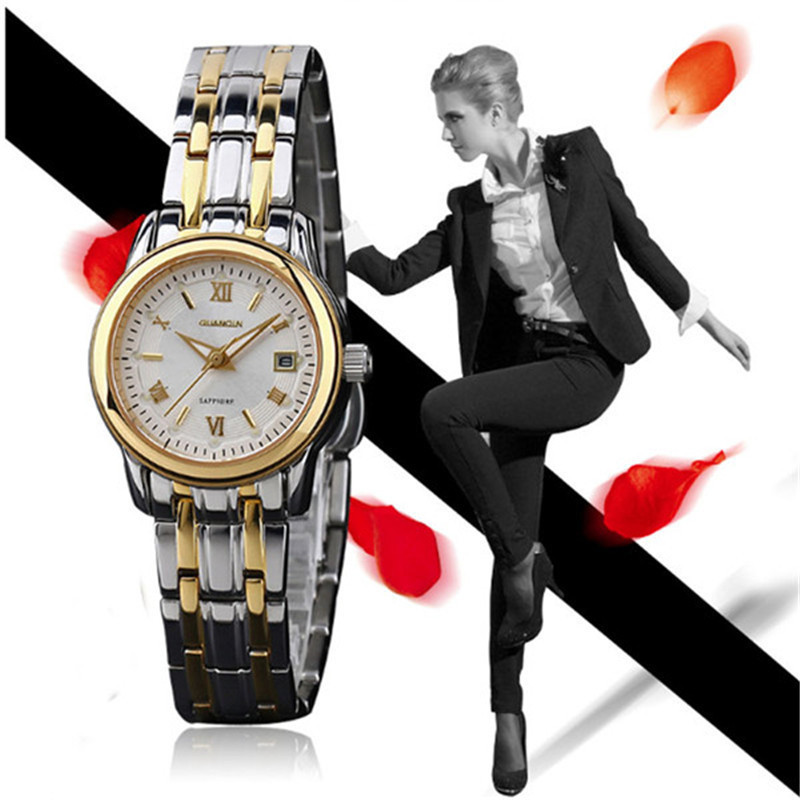 Direct Selling Fashion Women Watches Luxury Brand GUANQIN Waterproof Gold Steel Quartz Watch Relogio Feminino Relojes Mujer 2016 guanqin quartz watches fashion watch women dress relogio feminino waterproof tungsten steel gold bracelet watches relojes mujer