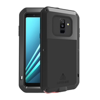 Metal Phone Case for Samsung Galaxy A6 2018 Hard 360 Full Body Silicone Glass Luxury Shockproof Covers for Samsung A6 Plus Armor