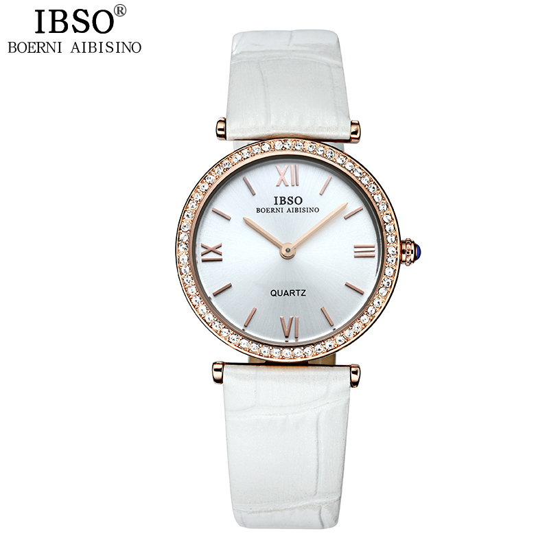 IBSO 브랜드 패션 여성 시계 정품 가죽 스트랩 Relojes Mujer 2018 럭셔리 크리스탈 쿼츠 시계 여성 몽트 Femme
