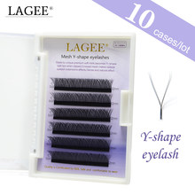 LAGEE 10 case Y shape lashes yy mink volume eyelash extension easy fan false eyelashes weave soft natural crisscross(China)