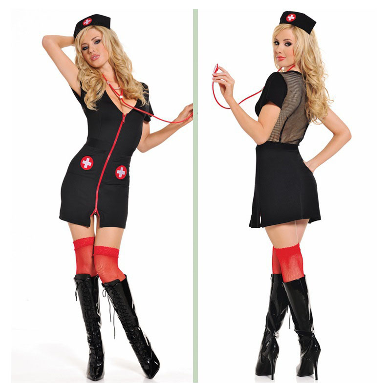 Buy Black sexy lingerie nurse uniform cosplay Lady nurses costumes Exotic Apparel lingerie hot lingerie zipped Dress NURSE011