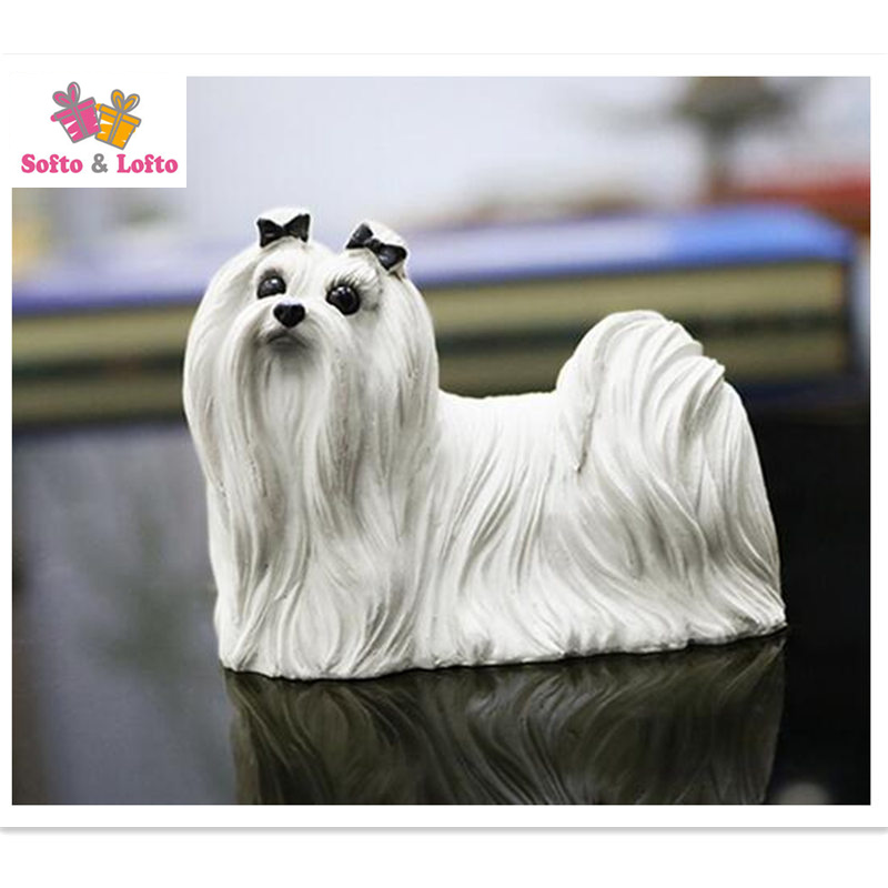 Cute 7cm white Maltese Dog figure artificial Maltes Bichon pet car styling home decoration article Christmas gift collection quality the scottish border collie dog figure car styling home room decoration doggy puppy article christmas birthday gift toy