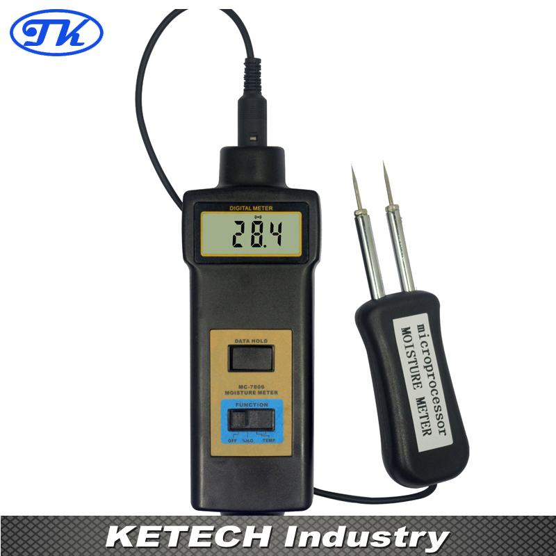 MC7806 Digital Pin Type Wood Moisture Tester Timber Moisture Meter fiber materials wooden articles tobacco cotton paper building soil and other fibre materials digital wood moisture meter mc7806