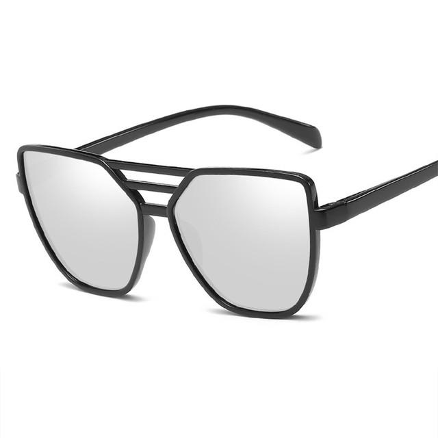 Mirror Silver Lens Oversize Cat Eye Women's Sunglasses
