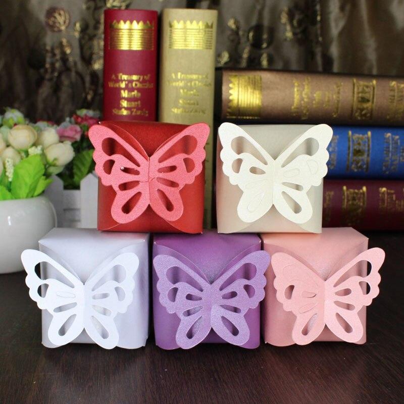 10 Uds Rregalos e boda caja de dulces plegable de mariposa DIY para Ideas de recuerdos de boda y cajas de regalos para decoración de la boda